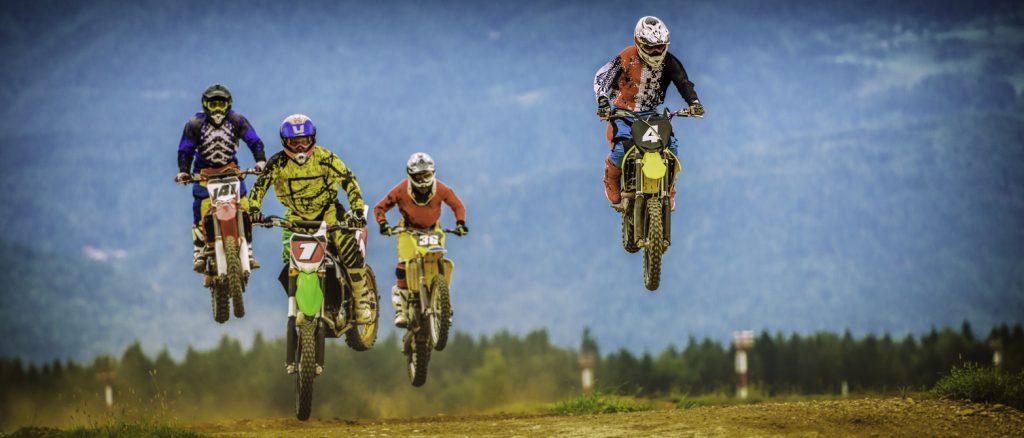 Motocross bikers in the air